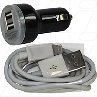12V/24V Dual OUtput Car Charger with Charge & Data USB cable for iPad Mini, iPhone 5