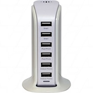 100-240VAC input to 5VDC 8Amp max. output USB output Smart Power Tower with 6 x USB outlets.