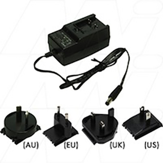 Universal AC to DC Switching Power Supply 24VDC 1A (24W) Wall Mount Type comes with 4 x Interchangeable Input Plugs (AU, EU, UK, US)