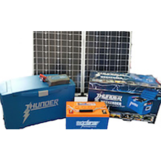 Premium Solar Deal - 120W Panel, Thunder Box, 12V Deep Cycle battery